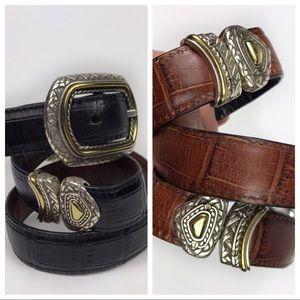 Brighton Reversible Leather Faux Crocodile Belt 30